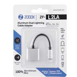 ZF-L2LA-SL Zoook ZF-L2LA-SL Lightning to Dual Lightning Port Connector Dongle- Silver preview