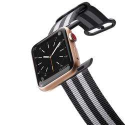 CASETIFY Apple Watch Band Nylon Fabric All Series 42mm Black Stripes preview