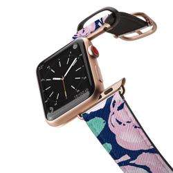CASETIFY Apple Watch Band Leather All Series 42mm Aluminum Gold Frame Pink Peonies preview