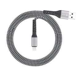 Zoook Strong i100 Fabric Pure Copper Cable for Charge & Sync 1m / 2A Support/ iPhone/iPad - Silver+Black preview