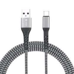 Zoook Strong C100 Fabric Pure Copper Cable for Charge & Sync 1m / 2A Support/ Type C USB - Silver+Black preview