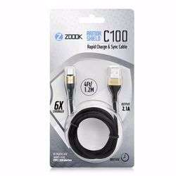 Zoook Fabric Pure Copper Cable for Charge & Sync 1m / 2A Support/ Type C USB - Black with Gold Connectors preview