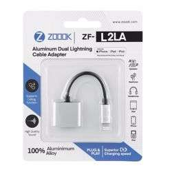 Zoook ZF L2LA SL Lightning to Dual Lightning Port Connector Dongle, Works with iPhone,iPad,iPod - Silver preview