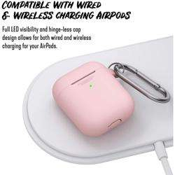 KEYBUDZ PodSkinz Keychain Case with Carabiner for AirPods 1 & 2 - Pink preview