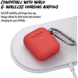KEYBUDZ PodSkinz Keychain Case with Carabiner for AirPods 1 & 2 - Red preview