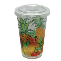 Hotpack 1000- Piece Plastic Juice Cup With Lid Set Multicolour 12 ounce