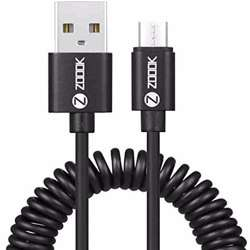 Zoook Coiled Micro USB Charging Cable 2.1A speed 1.2m - Black preview