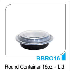 Hotpack 600pcs Black Round Container with Lid 16oz