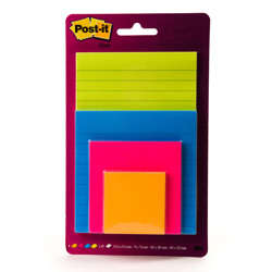 Post-it® Super Sticky Notes Lined Assorted Colours 4 Pads Assorted Sizes