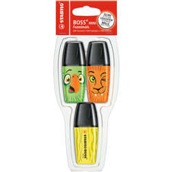 Stabilo Highlighter Boss Mini Funnimals Pack Of 3 Assorted Colours (Orange, Green, Yellow)