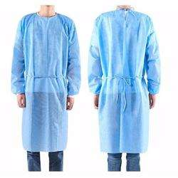 Disposable Isolation Gown 30GSM SS - Non Woven Rib at Cuff Medical Blue (1Pack/100 Pcs)