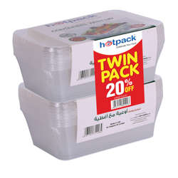 Hotpack Microwave Container,750cc+Lid Twin Pack,Offer 10Pcs