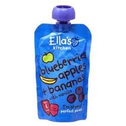 Ella''s Kitchen Puree Blueberries Apple Banana Vanilla 120 Gr