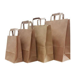 BioWare 350 Piece Kraft Flat Handle Bags 28x16x30cm preview