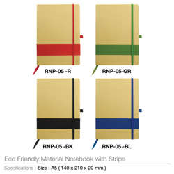 Eco Friendly Notebook With Stripe-140x210x20mm