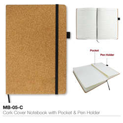 Cork Cover Notebook With Pocket And Pen Holder. A5 Size-140x210x20mm
