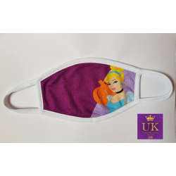 Kids Facemask With Animated Characters-Purple Cindrella-17cm