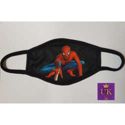 Kids Facemask With Animated Characters-Black Spiderman-17cm
