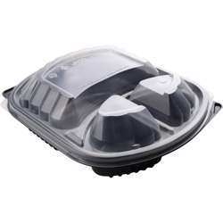 MPC PP Black Base Container With Clear Lid- 3 Compartment- 250pcs