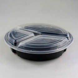 Galaxy Pack Black Hd Round Container 3 Compartment With Lid
