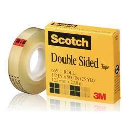 3M 665-1225 Scoth Double Sided Tape 1/2x25Y
