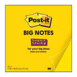3M Post-It Super Sticky Big Note Bn11, Yellow Notes In xl Size, 11x11 In (279x279mm), 30 Sheets/Pad