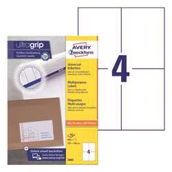 Avery Multipurpose Labels 3483, 105x148 mm, 4 Labels Per Sheet, 100 Sheets In A Pack, For All Printers