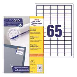 Avery Multipurpose Labels 3666, 38x21.2 mm, 65 Labels Per Sheet, 100 Sheets In A Pack, For All Printers