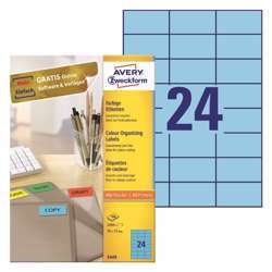 Avery Multipurpose Labels 3449, 70x37 mm, Blue Color, 24 Labels Per Sheet, 100 Sheets In A Pack, For All Printers