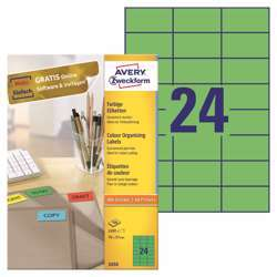 Avery Color Organising Green Labels - 3450, 70x37mm, 24 Labels Per Sheet, 100 Sheets In A Pack