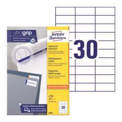 Avery Multipurpose Labels 3489, 70x29.7 mm, White Color, 30 Labels Per Sheet, 100 Sheets In A Pack, For All Printers