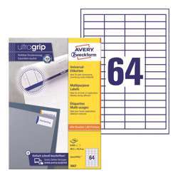 Avery Multipurpose Labels 3667, 48.5x16.9 mm, White Color, 64 Labels Per Sheet, 100 Sheets In A Pack, For All Printers