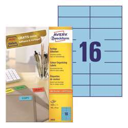 Avery Color Organising Blue Label - 3453, 105x37mm, 16 Label Per Sheet, 100 Sheet In A Pack