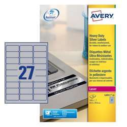 Avery Silver Heavy Duty Labels L6011-20, 63.5x29.6 mm, 27 Labels In A Sheet, 20 Sheets Per Pack, For B/W Laser Printer