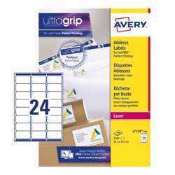 Avery Address Labels L7159-100 With Ultragrip And Quickpeel Technology, 63.5x33.9 mm, 24 Labels Per Sheet, 100 Sheets Per Pack