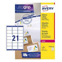 Avery Address Labels L7160-100 With Ultragrip And Quickpeel Technology, 63.5x38.1 mm, 21 Labels Per Sheet, 100 Sheets In A Pack