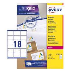 Avery Address Labels L7161-100 With Ultragrip And Quickpeel Technology, 63.5x46.6 mm, 18 Labels Per Sheet, 100 Sheets In A Pack
