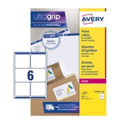 Avery Parcel Labels L7166-100 With Ultragrip Technology, 99.1x93.1 mm, 6 Labels Per Sheet, 100 Sheets In A Pack