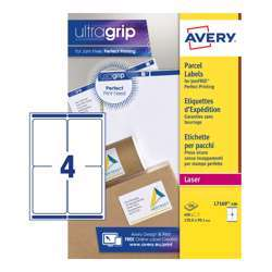 Avery Self Adhesive Parcel Shipping Labels L7169-100, 139x99.1 mm, Block Out Technology, 4 Labels Per Sheet, 100 Sheets In A Pack