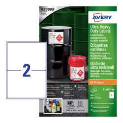 Avery Ultra Heavy Duty Industrial Waterproof Ghs Labels B7168-50 Extra Strong Adhesive, 144x200 mm, 2Labels Per Sheet, 50 Sheets In A Pack