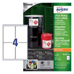 Avery Ultra Heavy Duty Industrial Waterproof Ghs Labels B7169-50 Extra Strong Adhesive, 99x139 mm, 4 Labels Per Sheet, 50 Sheets In A Pack
