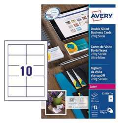 Avery Premium Business Cards C32026-10, 85x54 mm, Satin White, 270Gsm, 10 Cards Per Sheet, 10 Sheets Per Pack