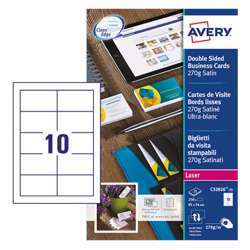 Avery Premium Business Cards C32026-25, 85x54 mm, Satin White, 270Gsm, 10 Cards Per Sheet, 25 Sheets In A Pack