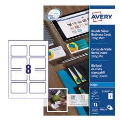 Avery Premium Business Cards C32015-10, 85x54 mm, Matt, 260Gsm, 8 Cards Per Sheet, 10 Sheets In A Pack