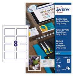 Avery Premium Business Cards C32028-25, 85x54 mm, Glossy, 240Gsm, 8 Cards Per Sheet, 25 Sheets Per Pack