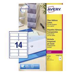 Avery L7563 Transparent Address Label, 99.1x38.1mm, 14 Labels Per Sheet, 25 Sheets In A Pack