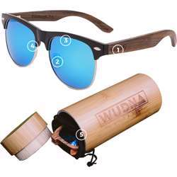 WUDN Real Bamboo Vintage Browline Style Retro Shade Sunglasses