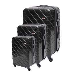 ABS+PC Hard Shell Trolley Luggage Set With Cross Lines (3 Different Sizes) - Black