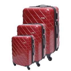 ABS+PC Hard Shell Trolley Luggage Set With Cross Lines (3 Different Sizes) - Red