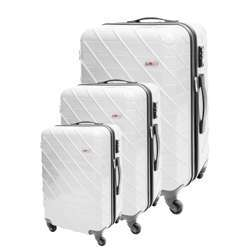 ABS+PC Hard Shell Trolley Luggage Set With Cross Lines (3 Different Sizes) - White